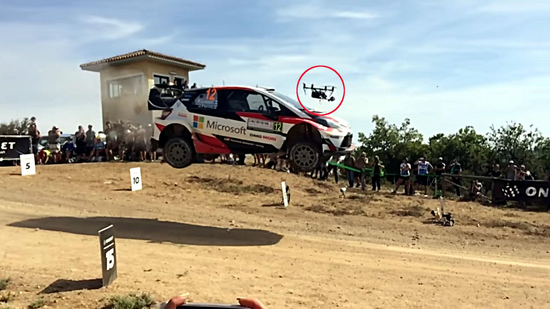Watch Slow-Mo Video Of Jumping Rally Car Slamming Into Drone