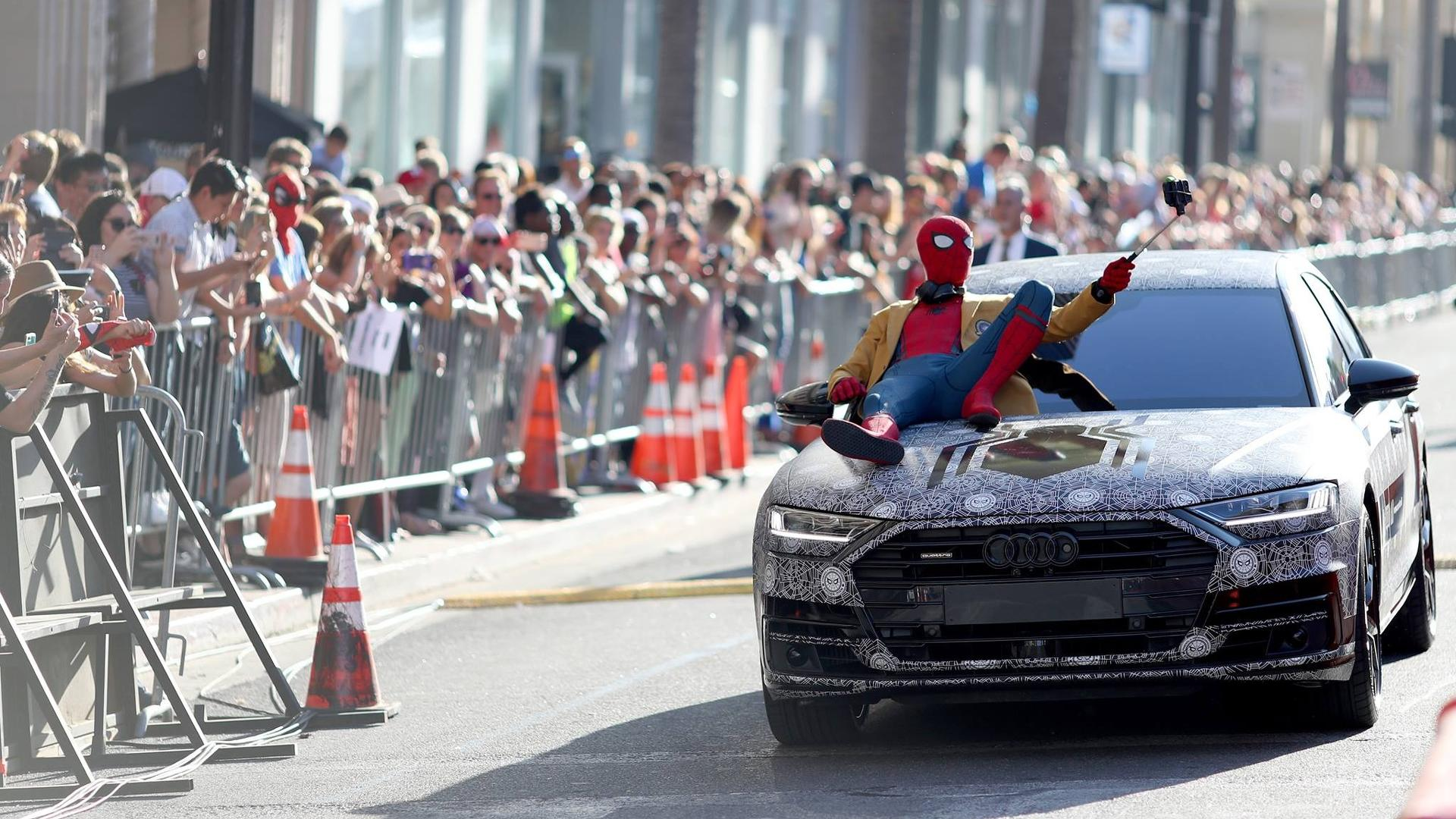 Spider Man Arrives At Homecoming Premiere In The New Audi A8