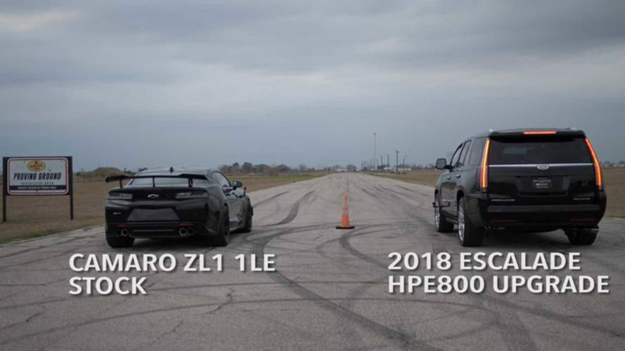 Watch This 800 HP Escalade Humiliate A Camaro ZL1 In A Drag Race