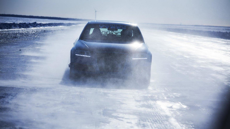 Nokian tires Audi RS6 beats Bentley ice speed world record [video]