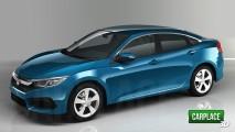 Novo Honda Civic 2016 vai estrear no próximo dia 16 de setembro