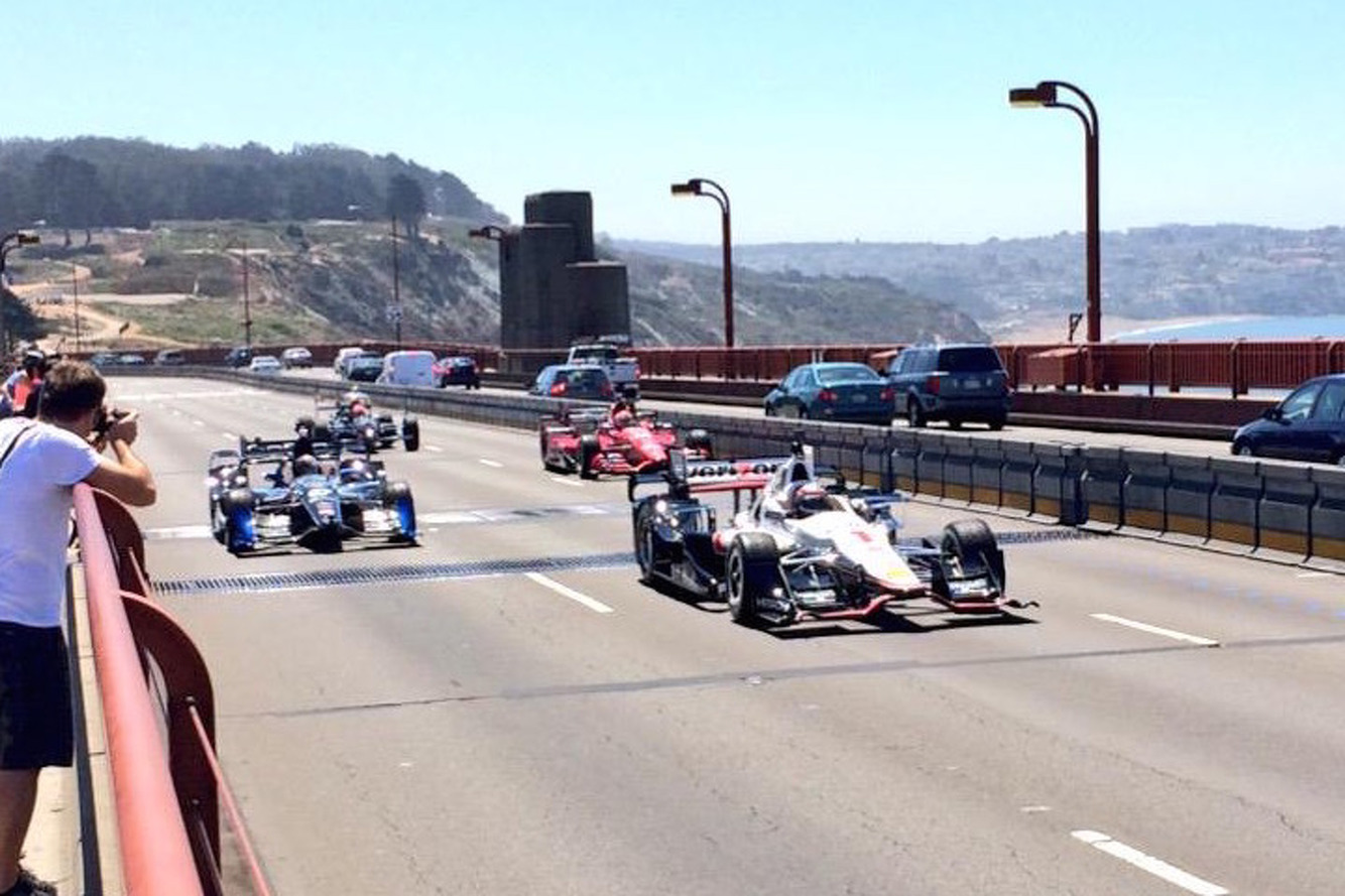 IndyCar Drivers Honor Justin Wilson on the Golden Gate Bridge