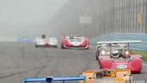 Can Am sprint race enters Turn 1 on a Foggy Watkins Glen
