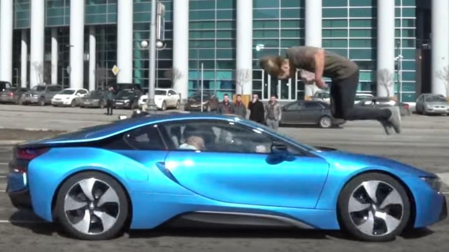 Stuntman Jumps Over Moving BMW i8