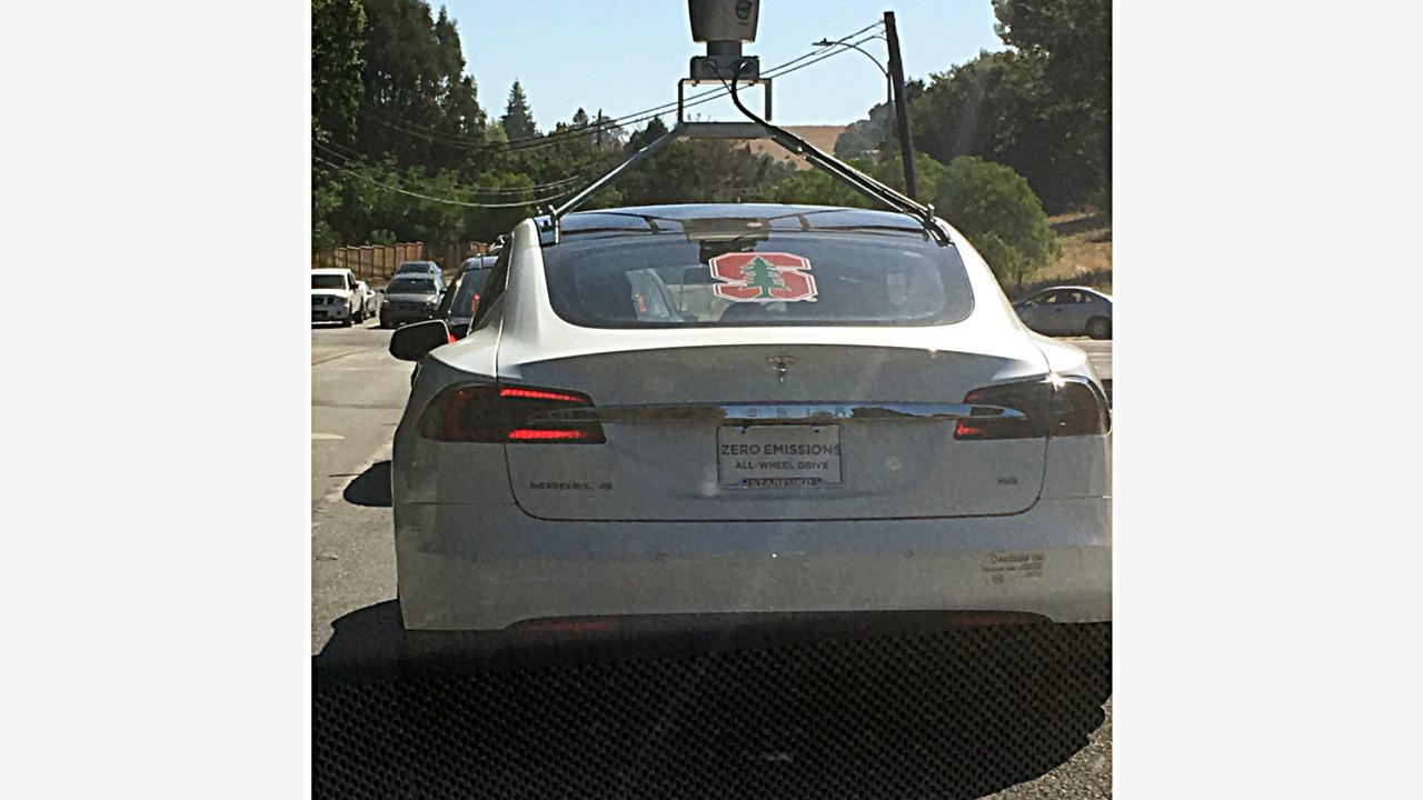 Tesla Model S with lidar