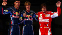 2nd place Mark Webber (AUS), Red Bull Racing with pole position man Sebastian Vettel (GER), Red Bull Racing and 3rd position Fernando Alonso (ESP), Scuderia Ferrari - Formula 1 World Championship, Rd 4, Chinese Grand Prix, Saturday Qualifying