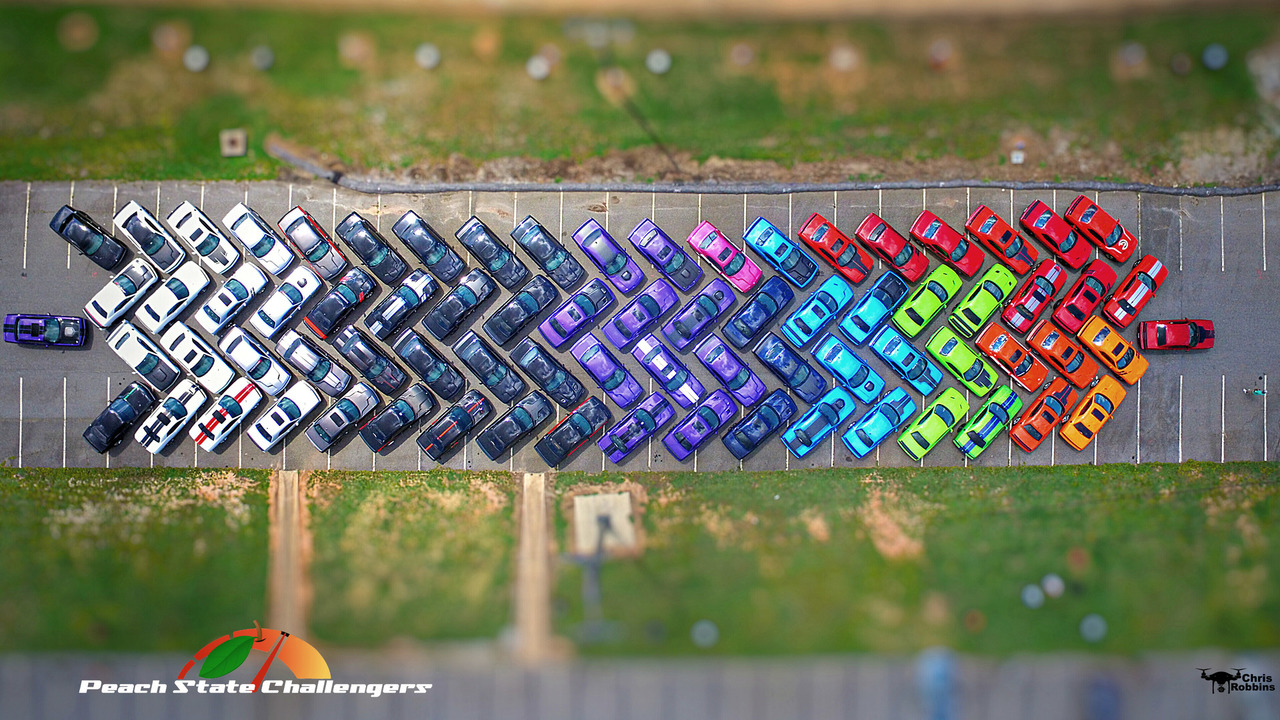 Dodge Challengers rainbow gathering