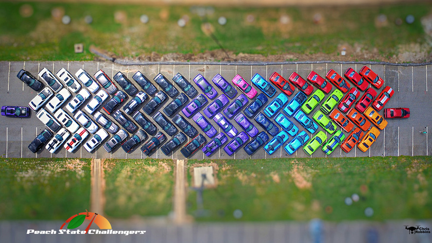 Georgia club creates Dodge Challenger rainbow from 76 cars