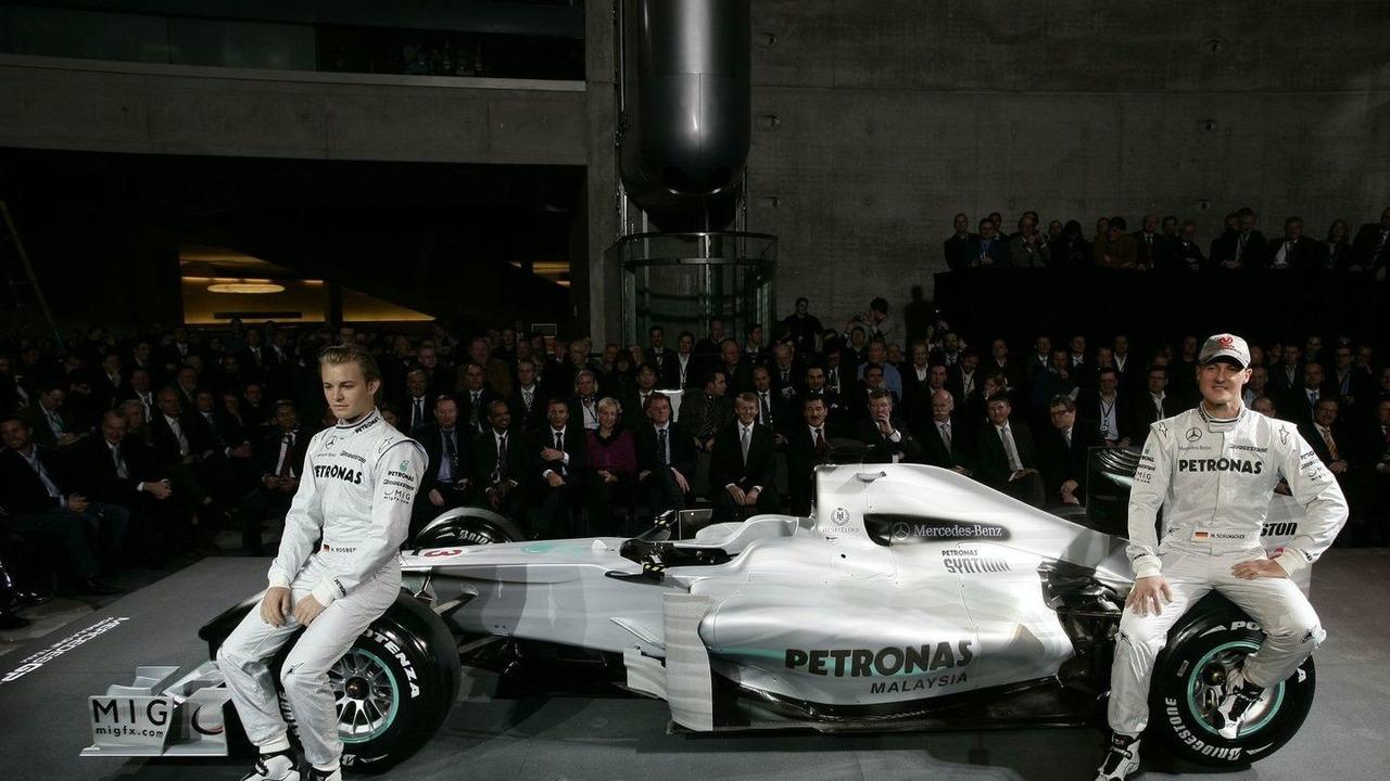 Mercedes GP MGP W01 car launch, Nico Rosberg, Michael Schumacher - 25.01.2010