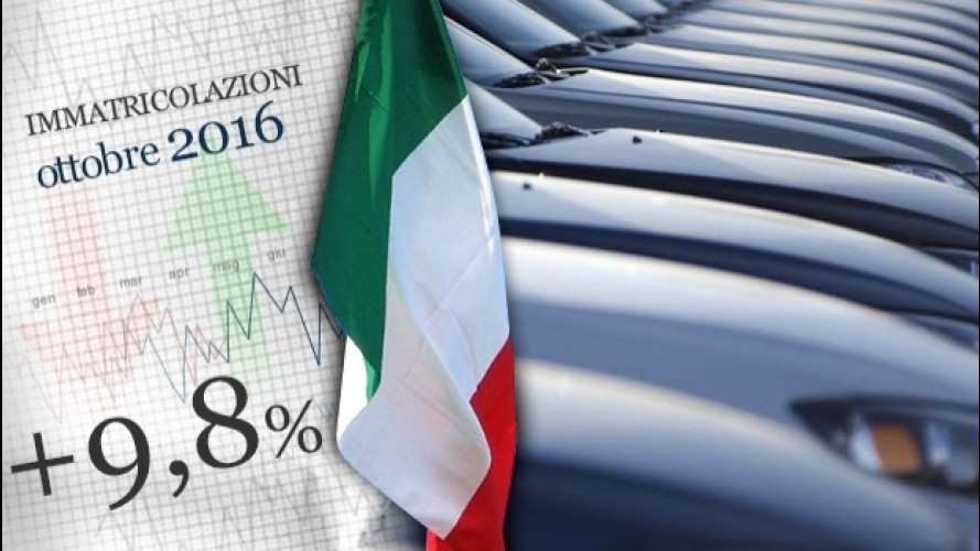 Mercato auto, a ottobre vendite in aumento del 9,8%