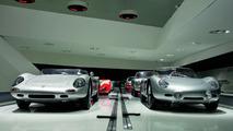 "The exhibition: the ""Targa Florio"" theme shows the Porsche 718 W-RS Spyder, 1962 (left) and the Porsche 718 RS 60 Spyder, 1960 (right)"