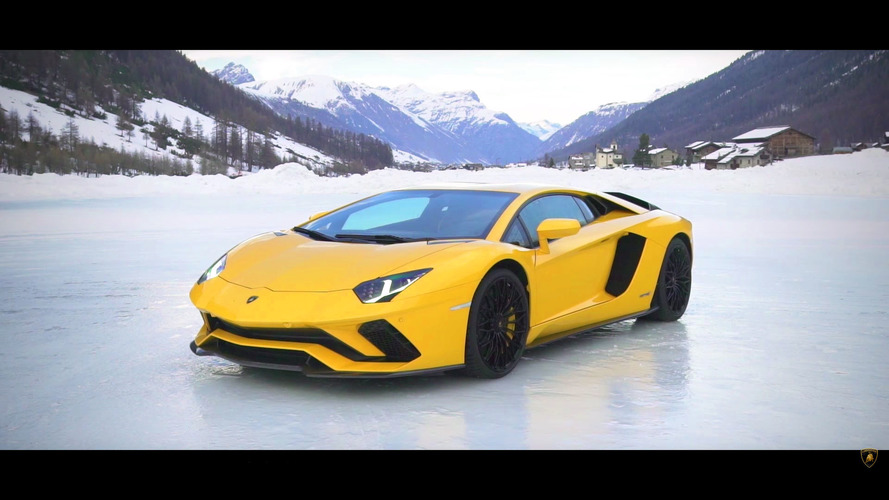 Watch A Snowbound Lamborghini Aventador S Take On An Airplane