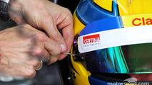 Esteban Gutierrez, Sauber helmet visor strip is replaced