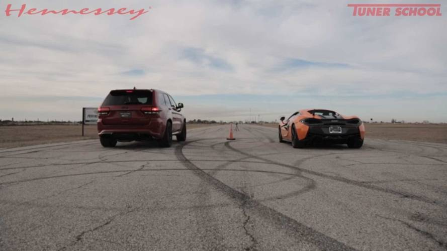 Watch This Jeep Grand Cherokee Trackhawk Drag Race A McLaren 570S