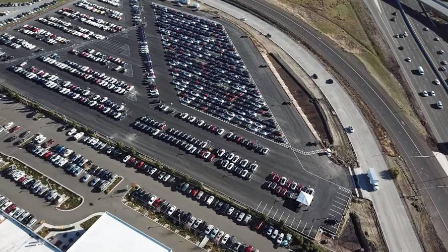 Tesla Factory Flyover Reveals Hundreds Of Model 3s
