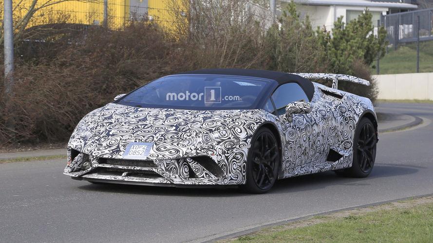 Photos espion - La Lamborghini Huracán Spyder Performante s'affûte !