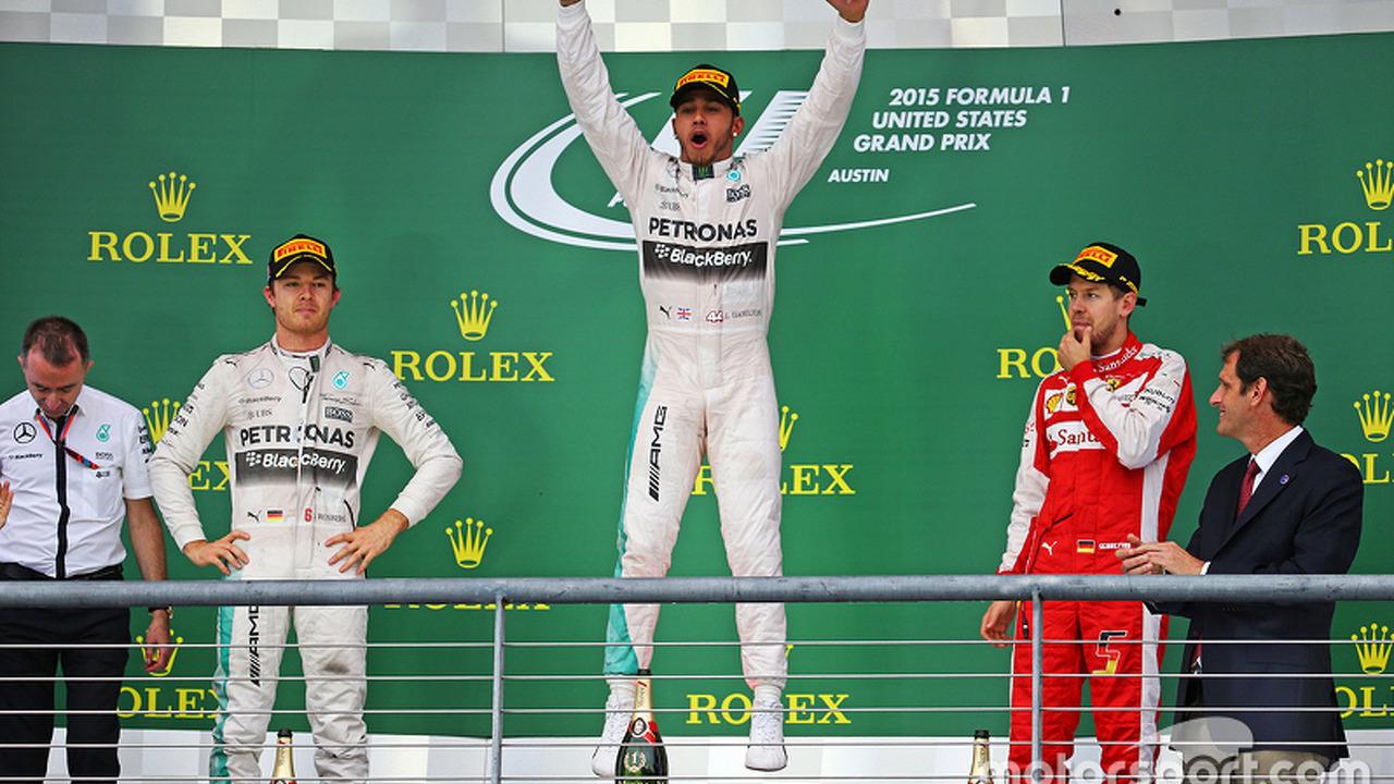 Winner Lewis Hamilton, second Nico Rosberg, third Sebastian Vettel, US grand prix 2015