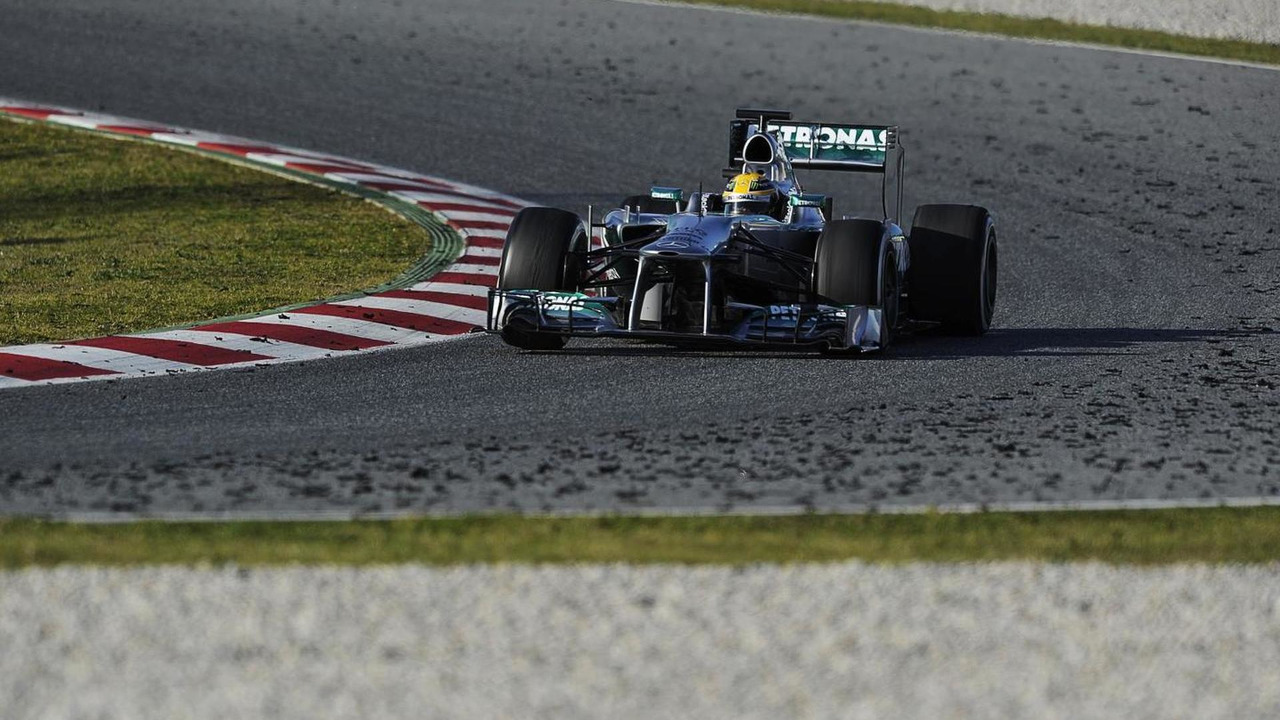 Lewis Hamilton with tire marbles on the track 02.03.2013 Formula One Testing Barcelona Spain