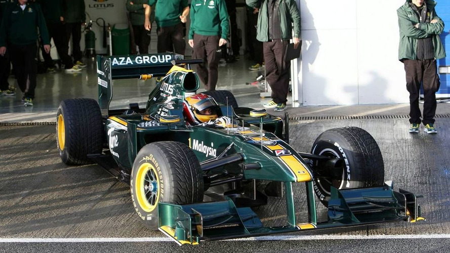Skies open after Lotus track debut at Jerez