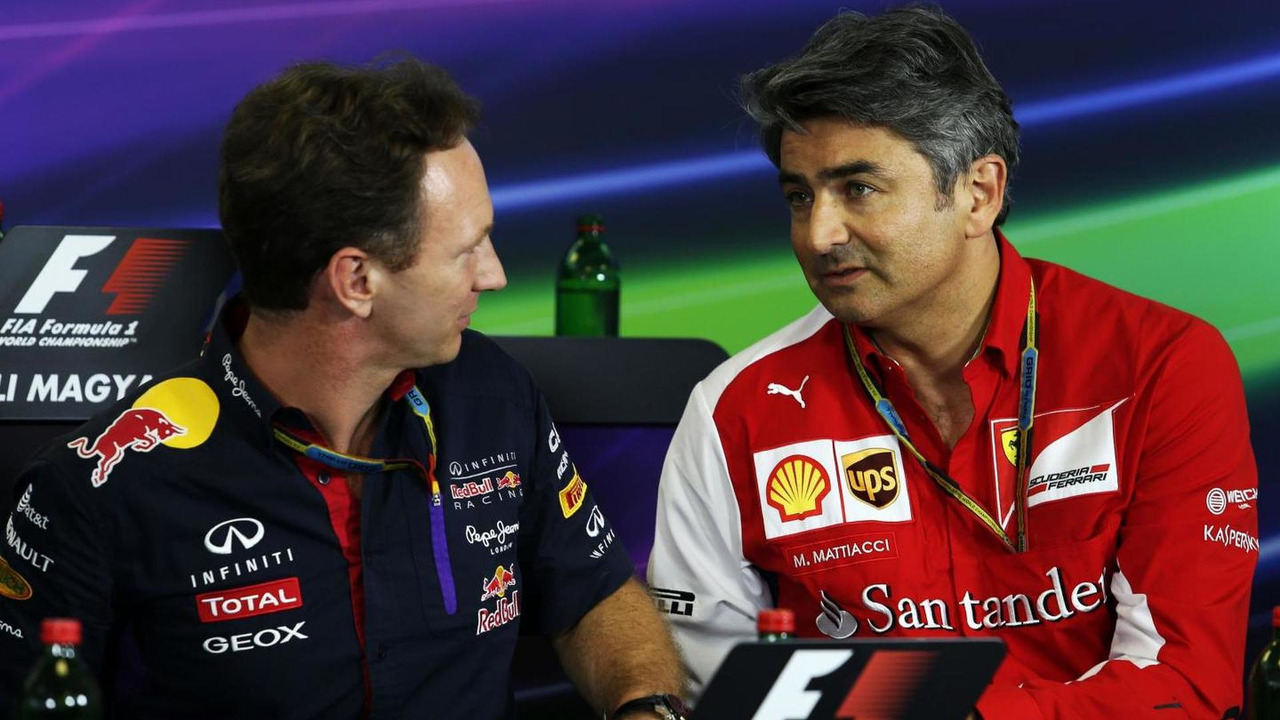 Christian Horner (GBR) and Marco Mattiacci (ITA) in the FIA Press Conference, 25.07.2014, Hungarian Grand Prix, Budapest / XPB