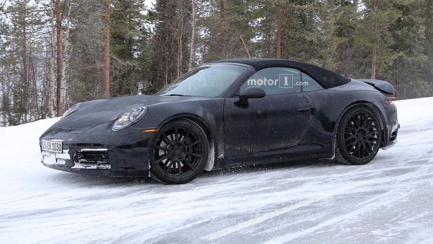 2019 Porsche 911 Cabrio spied looking chilly during snowy tests
