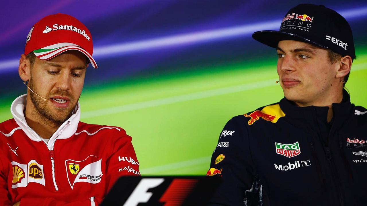 Sebastian Vettel, Ferrari, and Max Verstappen, Red Bull