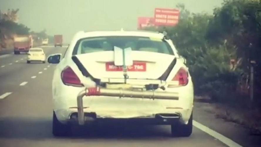 Mercedes S-Class Caught In India Testing With Weird Exhaust