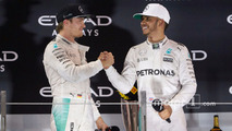 World Champion Nico Rosberg, Mercedes AMG F1 shakes hands with team mate and race winner Lewis Hamilton, Mercedes AMG F1