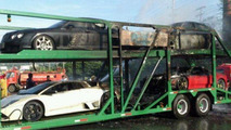 Trailer packed with supercars goes up in flames in Thailand [video]