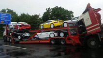 Porsche Cayman GT4 truck accident