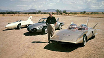 Harley Earl with Firebird I, II and III