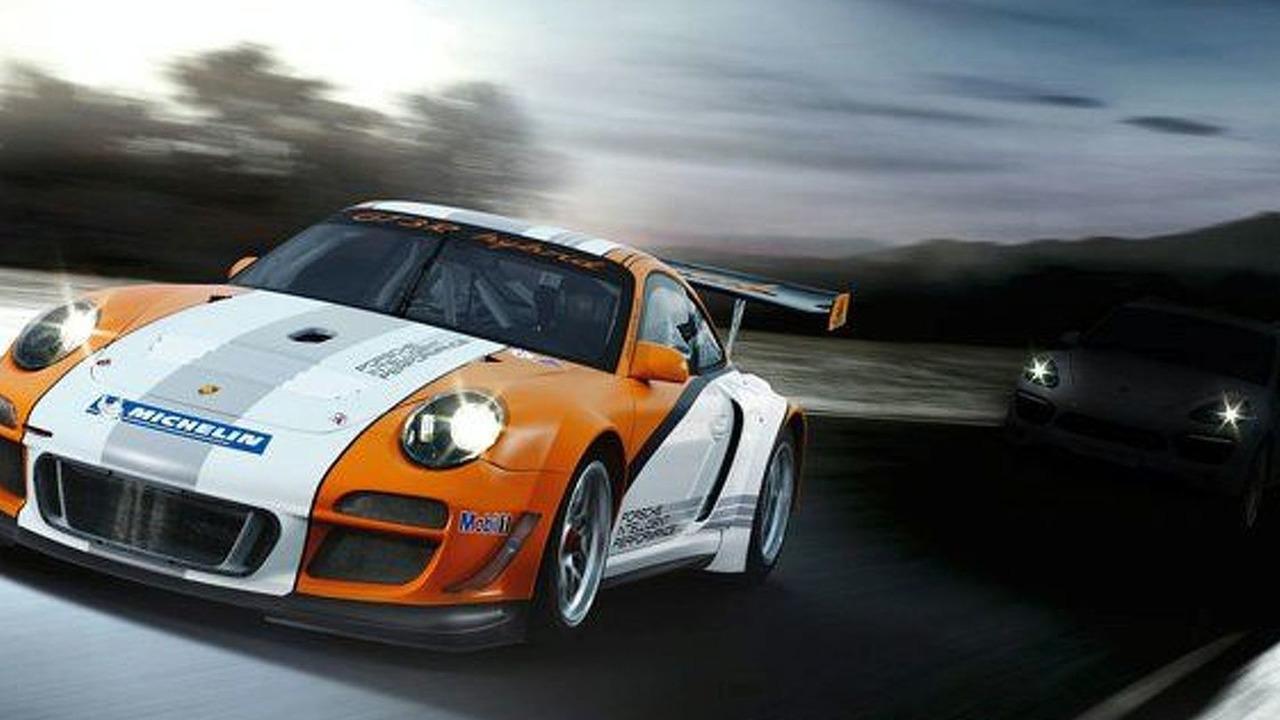 Porsche 911 GT3 R with 2011 Porsche Cayenne silhouette teased in background - 12.02.2010