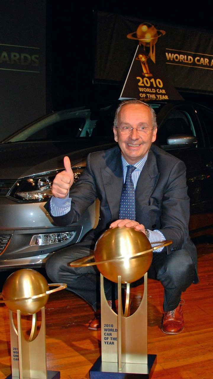 Walter Maria de'Silva, Head of Group Design VOLKSWAGEN AG, received the awards World Car of the Year 2010 (Volkswagen Polo) and World Green Car Award 2010 (Volkswagen BlueMotion-models), 01.04.2010