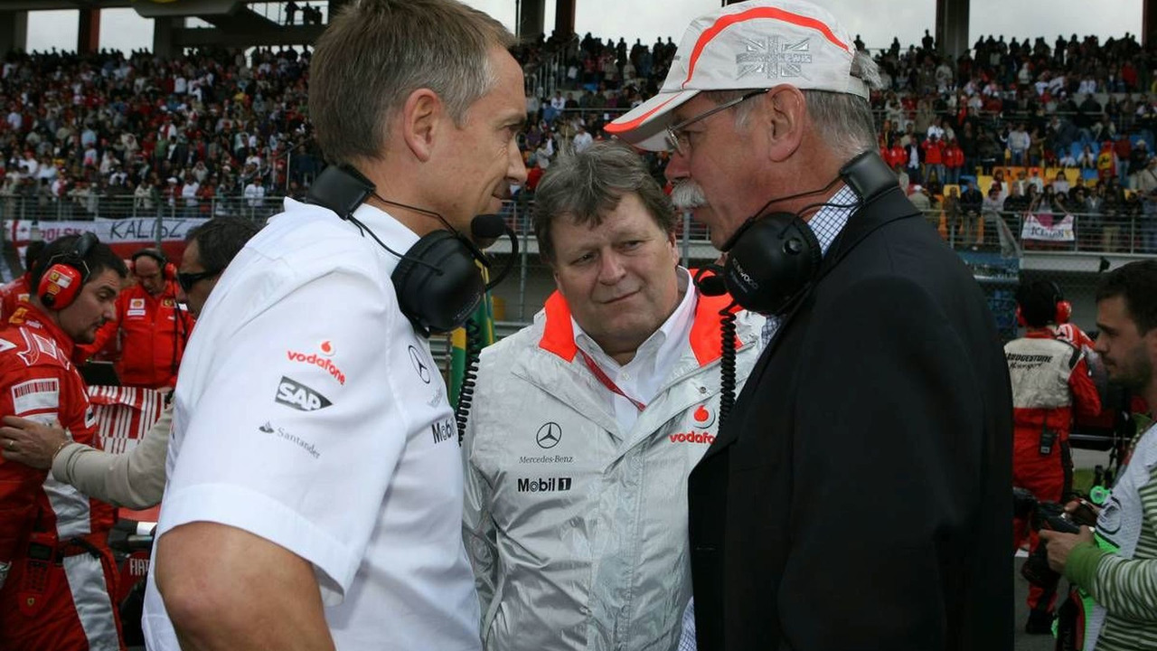 McLaren Team Principle Martin Whitmarsh, Daimler Chairman Dr. Dieter Zetsche and Mercedes Head of Motorsport Norbert Haug