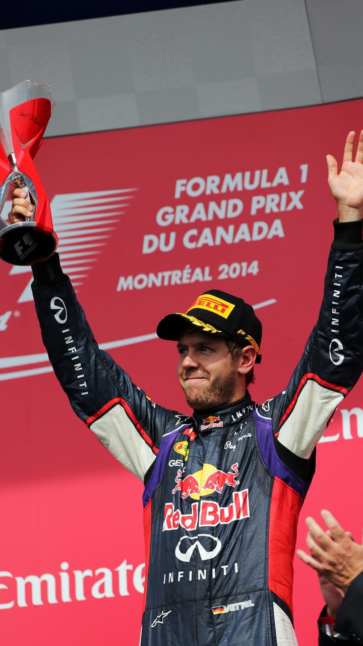 Sebastian Vettel (GER) celebrates his third position on the podium, 08.06.2014, Canadian Grand Prix, Montreal / XPB
