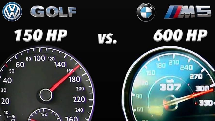 David Fights Goliath In Acceleration Test: VW Golf Vs New BMW M5
