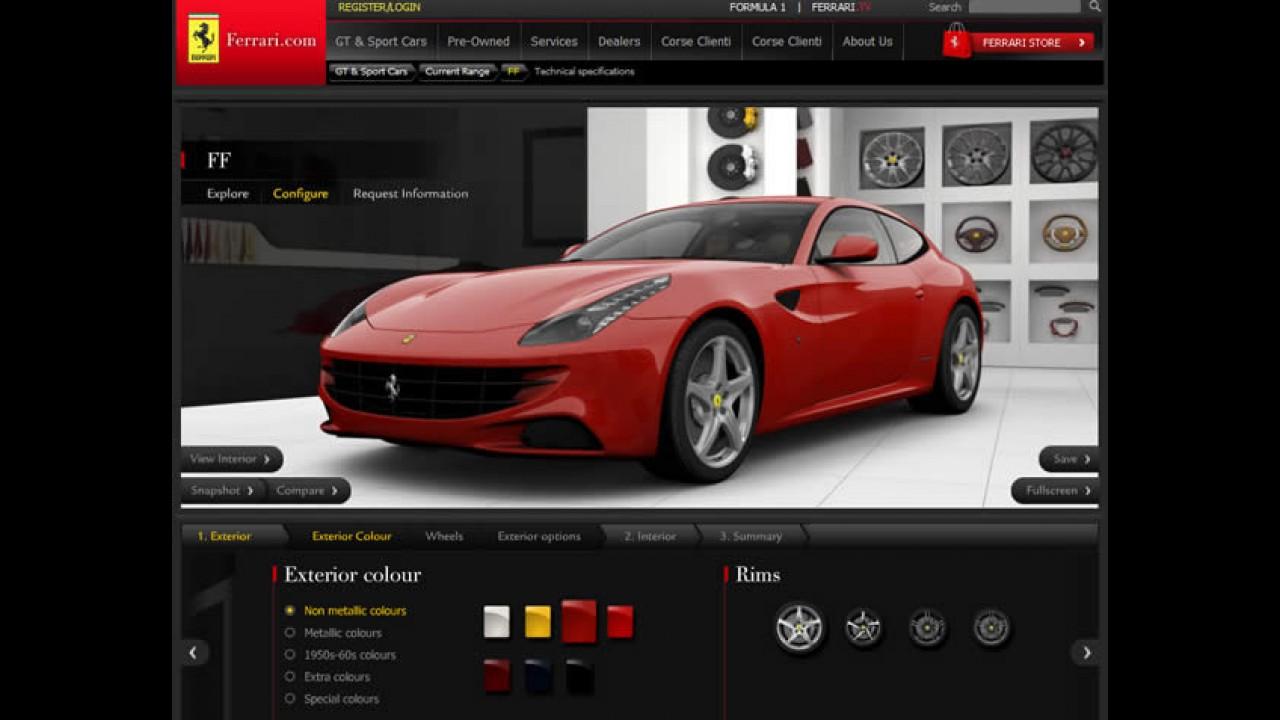 Configurador virtual da Ferrari FF já está disponível