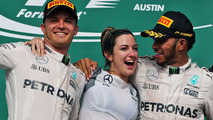 The podium (L to R)- Nico Rosberg, Mercedes AMG F1 with Victoria Vowles, Mercedes AMG F1 Partner Services Director and race winner Lewis Hamilton, Mercedes AMG F1