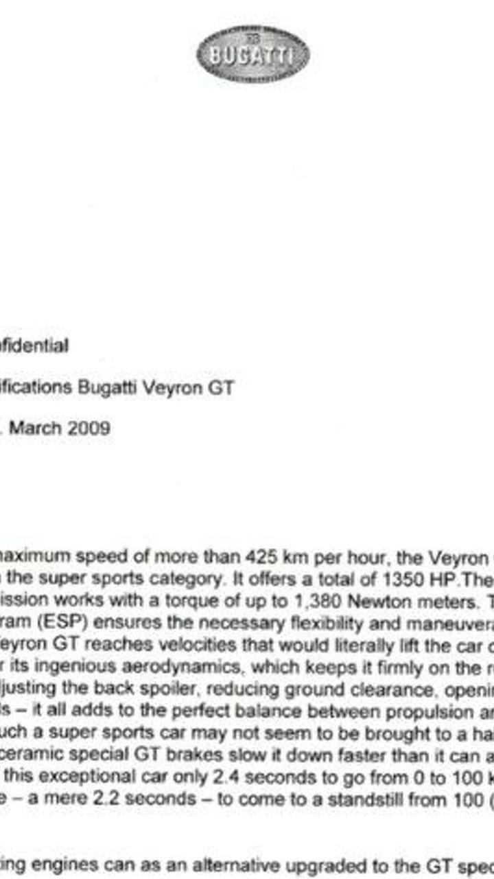 Alleged leaked Bugatti Veyron GT memo