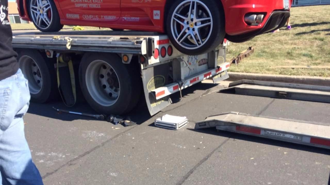 Ferrari flatbed fail caught on film in Ontario