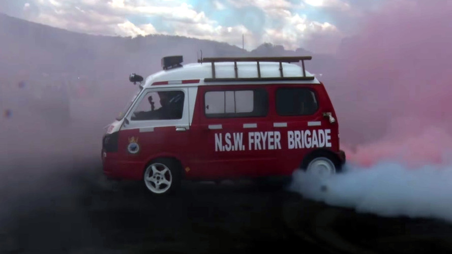 Watch This 1500-Pound Australian Subaru Microvan Totally Fry Its Tires