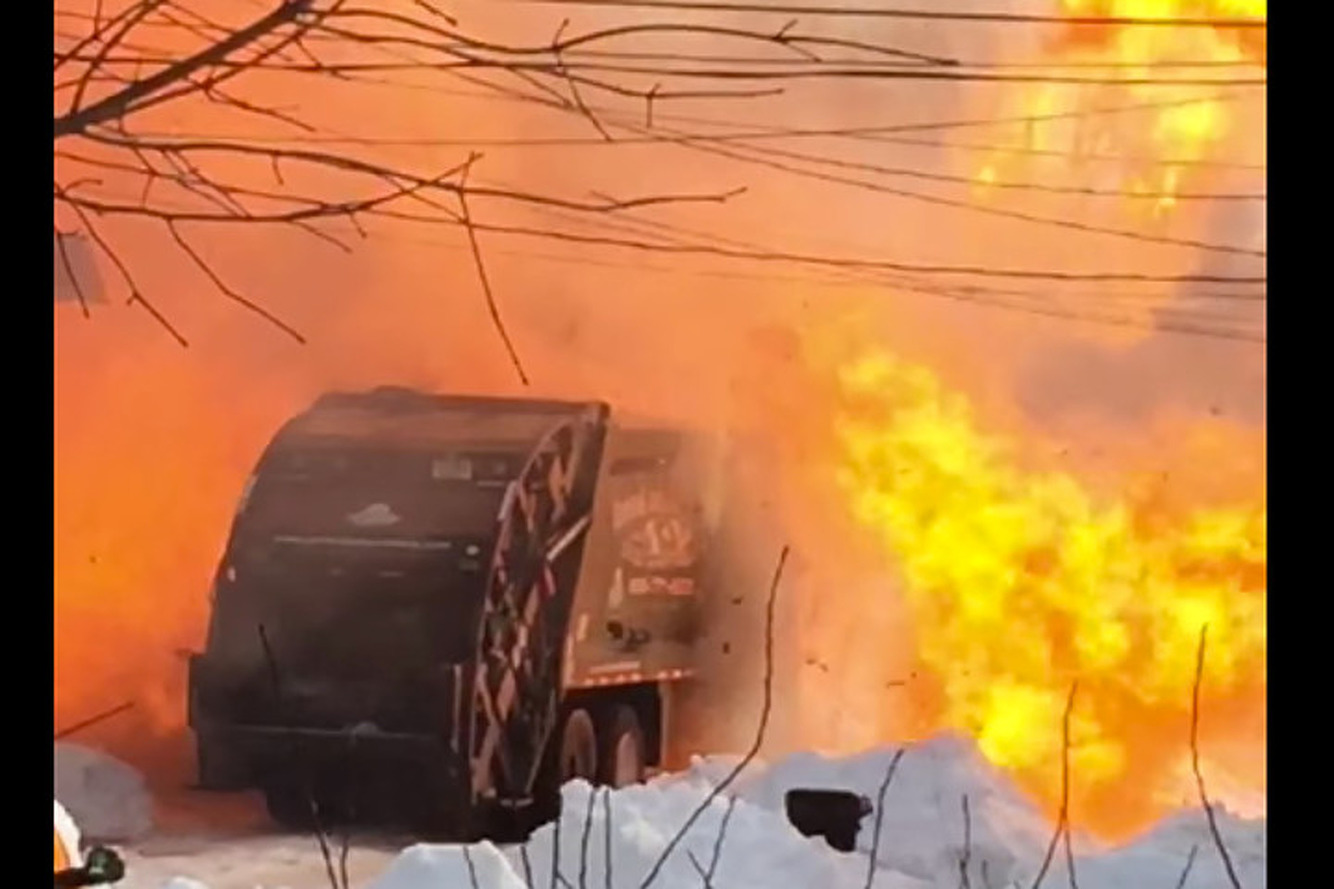 Watch This Garbage Truck Explode