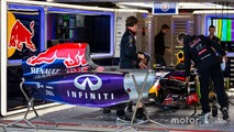 Red Bull Racing RB10 of Daniel Ricciardo, Red Bull Racing in the pit garage