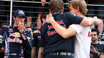 Red Bull Racing team celebrate 1st for Mark Webber (AUS), Red Bull Racing, Mark Webber (AUS), Red Bull Racing, Christian Horner (GBR), Red Bull Racing, Sporting Director, Sebastian Vettel (GER), Red Bull Racing, British Grand Prix, Sunday Podium, 11.07.20