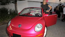Heidi Klum with customized pink New Beetle convertible at Barbie's Dream House 50th Birthday Party