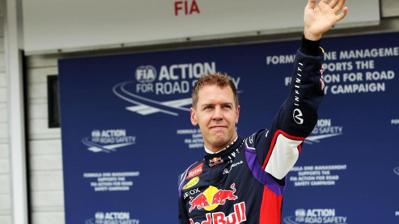 Sebastian Vettel (GER) celebrates his second position in qualifying parc ferme, 26.07.2014, Hungarian Grand Prix, Budapest / XPB
