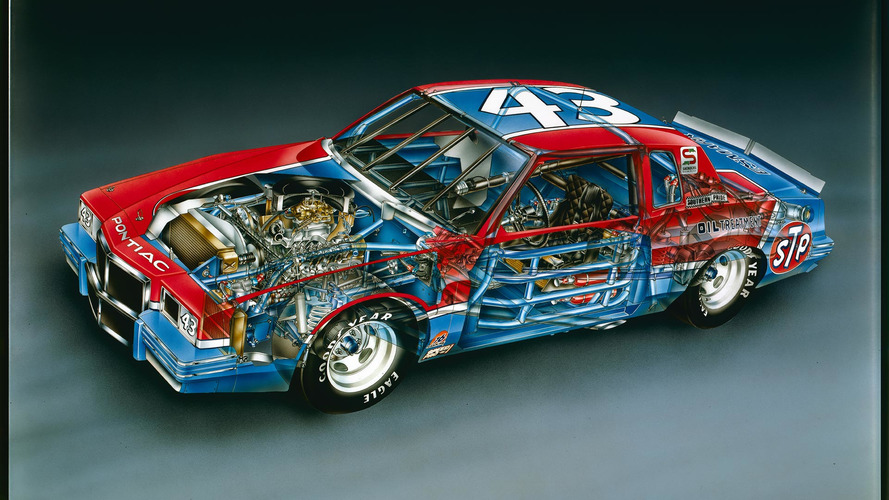 1982 Richard Petty No. 43 Pontiac Grand Prix cutaway by David Kimble