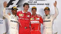 Podium- winner Sebastian Vettel, Ferrari, second place Lewis Hamilton, Mercedes AMG F1, third place Valtteri Bottas, Mercedes AMG F1