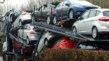 Brand new Fords runied on a transport lorry