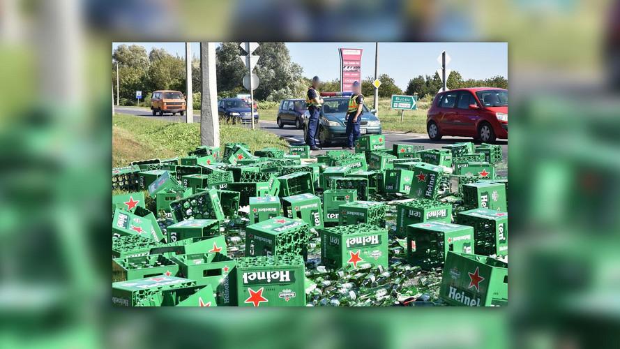 Több ezer üveg Heineken sör került az útra egy szlovén kamionos jóvoltából